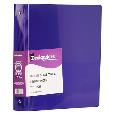 JAM Paper Heavy Duty 1 1/2 3-Ring Flexible Poly Binders, Purple Glass Twill (275112245)