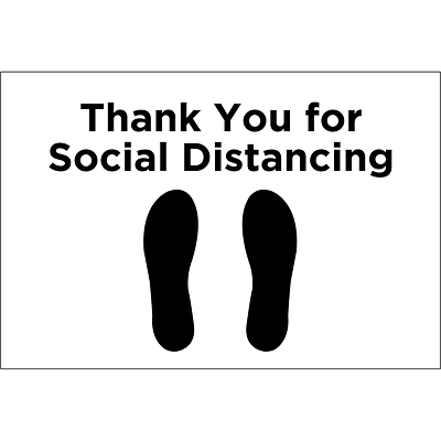 Cosco Paper Thank You for Social Distancing Safety Floor Sign, 12 x 18, White/Black (098463)