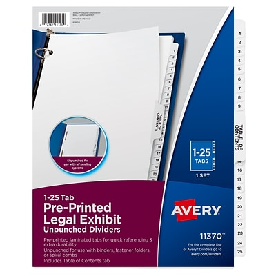 Avery Legal Exhibit Numeric Dividers, 26-Tab, Clear (11370)