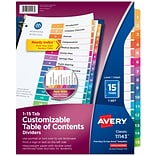 Avery Ready Index Customizable Table of Contents Numeric Dividers, 15-Tab, Multicolor (11143)
