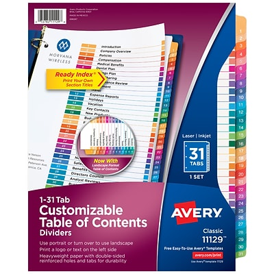 Avery Ready Index Customizable Table of Contents Numeric Paper Dividers, 31-Tab, Multicolor (11129)