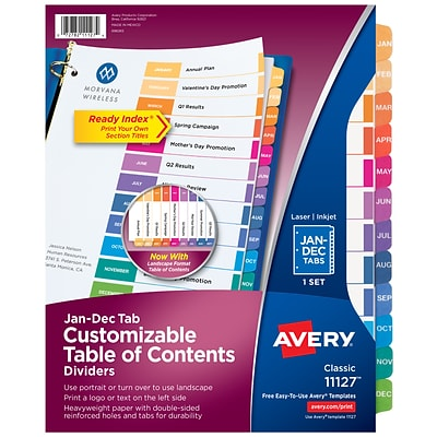 Avery Ready Index Customizable Table of Contents Monthly Paper Dividers, 12-Tab, Multicolor (11127)