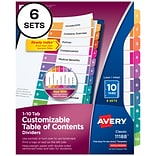 Avery Ready Index Customizable Table of Contents Numeric Paper Dividers, 10-Tab, Multicolor, 6 Sets