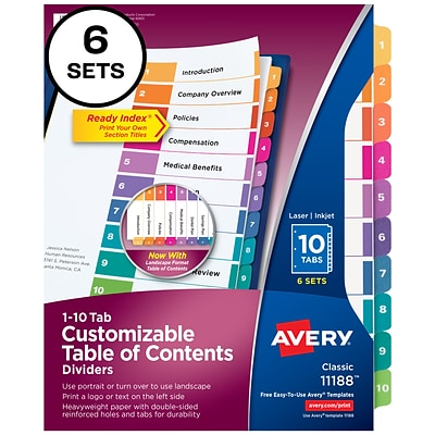 Avery Ready Index Customizable Table of Contents Numeric Paper Dividers, 10-Tab, Multicolor, 6 Sets (11188)