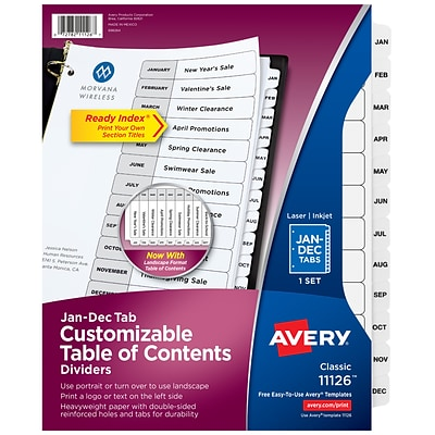 Avery Ready Index Monthly Paper Dividers, 12-Tab White (11126)
