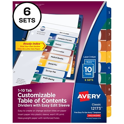 Avery Ready Index Easy Edit Numeric Paper Dividers, 10-Tab, Multicolor, 6 Sets/Pack (12173)