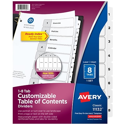 Avery Ready Index Customizable Table of Contents Numeric Dividers, 8-Tabs, White, 1 Set (11132)