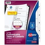 Avery Ready Index Customizable Table of Contents Numeric Dividers, 5-Tab, White (11130)