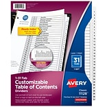 Avery Ready Index Customizable Table of Contents Numeric Dividers, 31-Tabs, White, Set (11128)