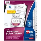 Avery Ready Index Table of Contents Numeric Paper Dividers, 15-Tab, White (11142)