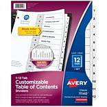 Avery Ready Index Customizable Table of Contents Numeric Paper Dividers, 12-Tab, White, Set (11140)