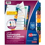 Avery Ready Index Table of Contents Plastic Tab Dividers, Preprinted 1-10, Multicolor, 10/Per Set (1