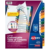 Avery Ready Index Table of Contents Preprinted Dividers, 15-Tab, White, Set (11820)