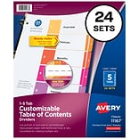 Avery Ready Index Numeric Divider, 5-Tab, Multicolor, 24/Sets (11167)