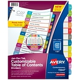 Avery Ready Index Customizable Table Of Contents Monthly Paper Divider, 12-Tab, Multicolor (11847)