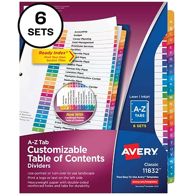 Avery Ready Index Customizable Table of Contents A-Z Dividers, Multicolor Tabs, 6 Sets (11832)