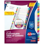 Avery Ready Index Customizable Table Of Contents Numeric Paper Divider, 31-Tab, Multicolor (11846)