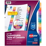 Avery Ready Index Customizable Table of Contents A-Z Dividers, 26-Tab, Multicolor (11125)
