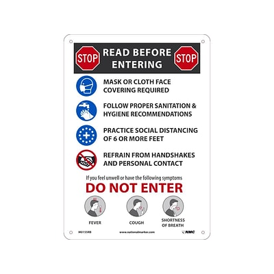 National Marker Wall Sign, Read Before Entering, Plastic, 14 x 10, Multicolor (M0155RB)