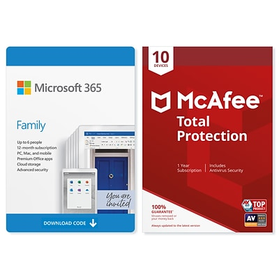 Microsoft 365 Family McAfee Total Protection for Windows/Mac/Android/iOS, 6 People/10 Devices, Download (KLQ-00218)
