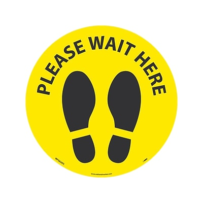 National Marker Temp-Step™ Floor Decal, Please Wait Here, 8, Yellow/Black (WFS83AYL)