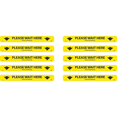 National Marker Temp-Step™ Floor Decal, Please Wait Here, 2.25 x 20, Yellow/Black, 10 (WFS81A10)