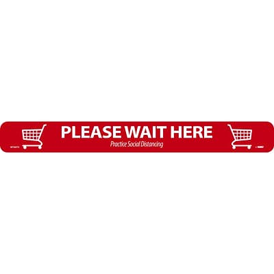 National Marker TexWalk® Floor Decal, Please Wait Here, 2.25 x 20, Red/White (WFS80TX)
