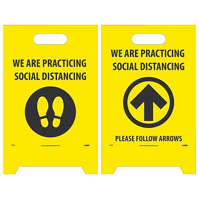 National Marker Double-Sided A-Frame Sign, We are Practicing Social Distancing, 19 x 12, Yellow/Black (FS45)