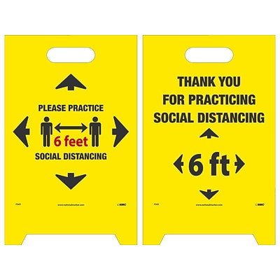 National Marker Double-Sided A-Frame Sign, Please Practice Social Distancing, 19 x 12, Yellow/Black/Red (FS43)