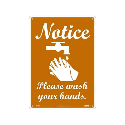 National Marker Wall Sign, Notice: Please Wash Your Hands, Plastic, 14 x 10, Brown/White (WH3RB)