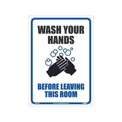 National Marker Wall Sign, Wash Your Hands Before Entering This Room, Plastic, 14 x 10, White/Blue/Black (WH1RB)
