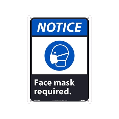 National Marker Wall Sign, Notice: Face Mask Required, Plastic, 14 x 10, Blue/White/Black (NGA39RB)
