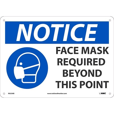 National Marker Wall Sign, Notice: Face Mask Required Beyond This Point, Aluminum, 10 x 14, Blue/White (N523AB)