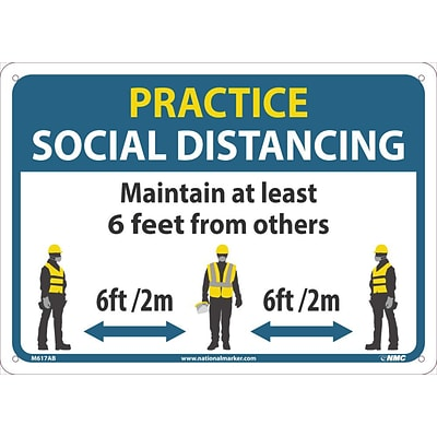 National Marker Wall Sign, Practice Social Distancing, Aluminum, 10 x 14, Blue/White/Yellow (M619AB)
