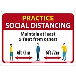National Marker Wall Sign, Practice Social Distancing, Plastic, 10 x 14, Red/White/Yellow (M620R