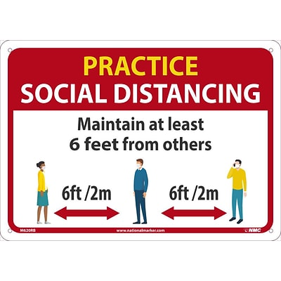 National Marker Wall Sign, Practice Social Distancing, Plastic, 10 x 14, Red/White/Yellow (M620RB)