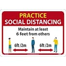 National Marker Wall Sign, Practice Social Distancing, Aluminum, 10 x 14, Red/White/Yellow (M620