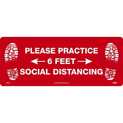 National Marker Walk-On™ Floor Decal, Please Practice Social Distancing, 8 x 20, Red/White (WFS74)