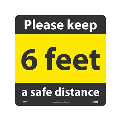 National Marker Walk-On™ Floor Decal, 6 Feet Please Keep a Safe Distance, 12 x 12, Yellow/Black (WFS73)