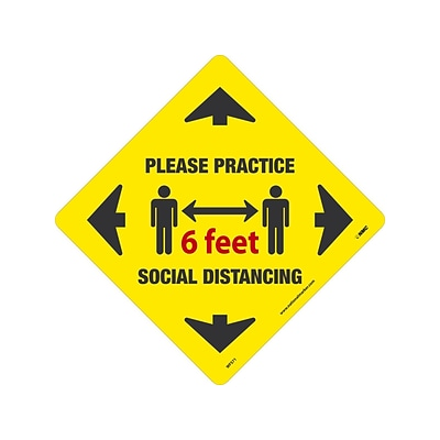 National Marker Walk-On™ Floor Decal, Please Practice Social Distancing, 12 x 12, Yellow (WFS71)