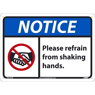 National Marker Wall Sign, Notice: Please Refrain from Shaking Hands, Aluminum, 10 x 14, Blue/White (NGA37AB)