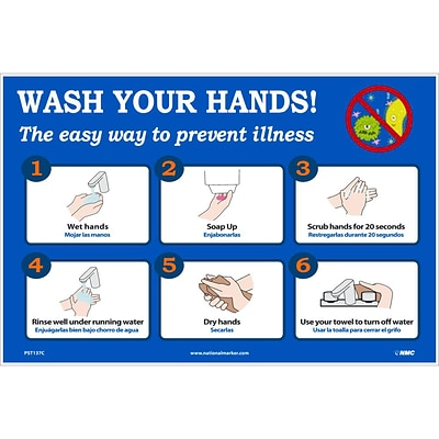 National Marker Vinyl Poster, Wash Your Hands!, 12 x 18, Blue/White (PST137C)