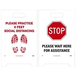 National Marker Double-Sided A-Frame Sign, Please Practice 6 Feet Social Distancing, 19 x 12, Wh