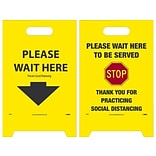 National Marker Double-Sided A-Frame Sign, Please Wait Here/Please Wait Here to be Served, 19 x 1