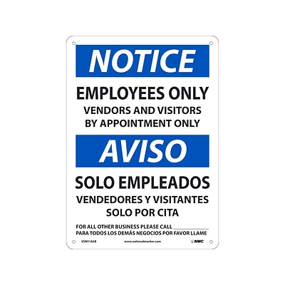 National Marker Wall Sign, Notice: Employees Only, Aluminum, 14 x 10, White/Blue (ESN518AB)