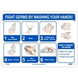 National Marker Wall Sign, Fight Germs by Washing Your Hands!, Plastic, 10 x 14, Blue/White (WH6
