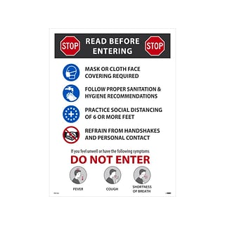 National Marker Poster, Stop. Read Before Entering, 24 x 18, Multicolor (PST155)