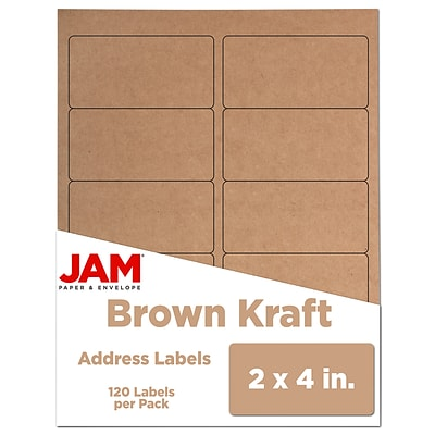 JAM Paper® Shipping Address Labels, Standard Mailing, 2 x 4, Brown Kraft, 120/Pack (4513703)