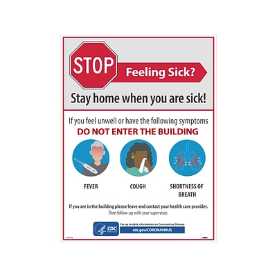 National Marker Poster, Stop - Feeling Sick?, 24 x 18, White/Red/Blue (PST142)