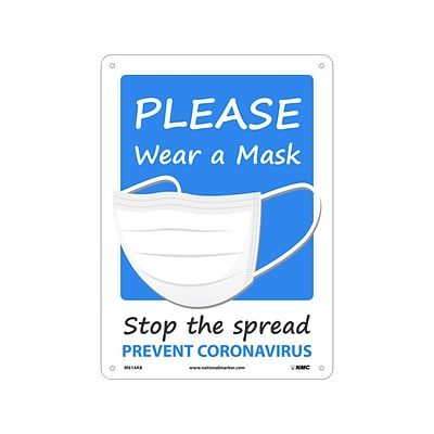 National Marker Wall Sign, Please Wear a Mask, Plastic, 14 x 10, Blue/White (M614RB)